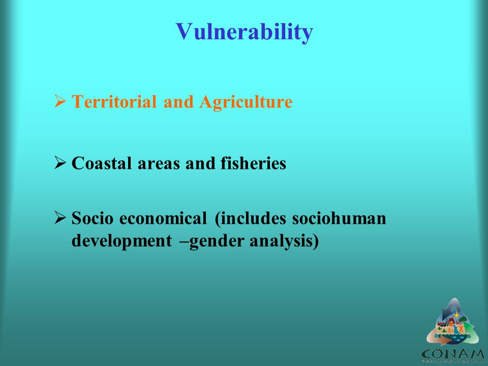 Vulnerability Territorial and Agriculture Coastal areas and fisheries Socio economical (includes sociohuman development –gender analysis)