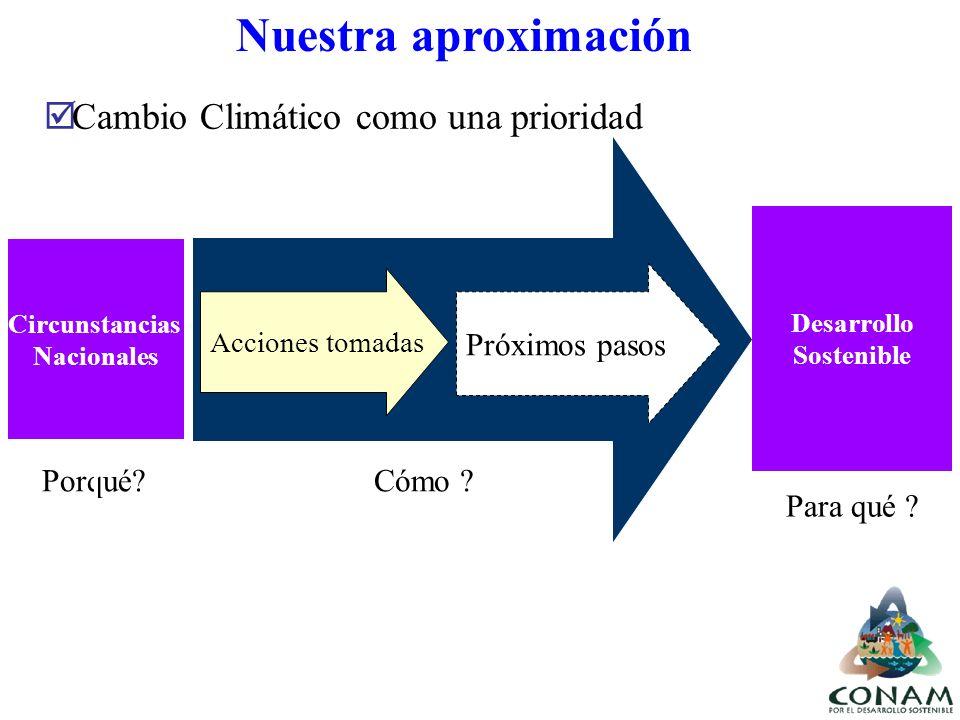 Circunstancias Nacionales Desarrollo Sostenible Nuestra aproximación Porqué?Cómo ? Para qué ? Acciones tomadas Próximos pasos Cambio Climático como un