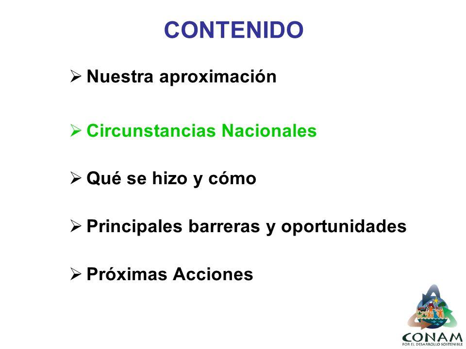 CONTENIDO Nuestra aproximación Circunstancias Nacionales Qué se hizo y cómo Principales barreras y oportunidades Próximas Acciones