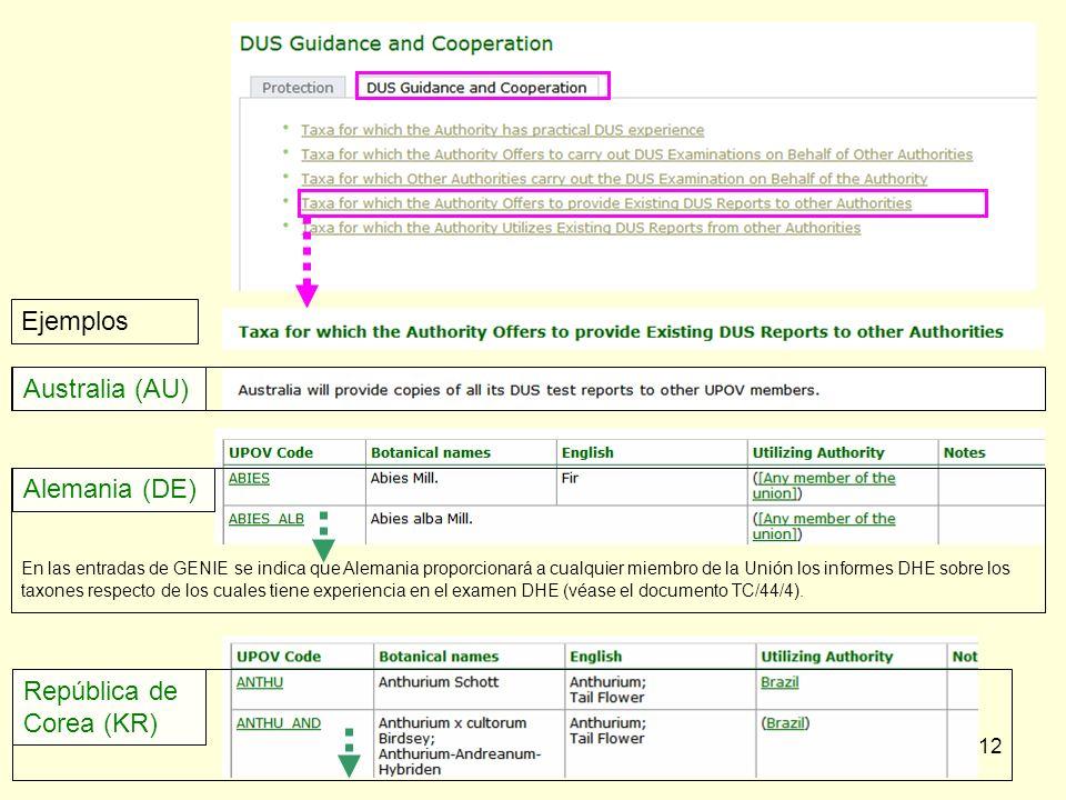 12 En las entradas de GENIE se indica que Alemania proporcionará a cualquier miembro de la Unión los informes DHE sobre los taxones respecto de los cuales tiene experiencia en el examen DHE (véase el documento TC/44/4).