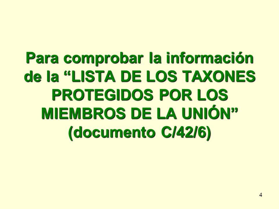 4 Para comprobar la información de la LISTA DE LOS TAXONES PROTEGIDOS POR LOS MIEMBROS DE LA UNIÓN (documento C/42/6)