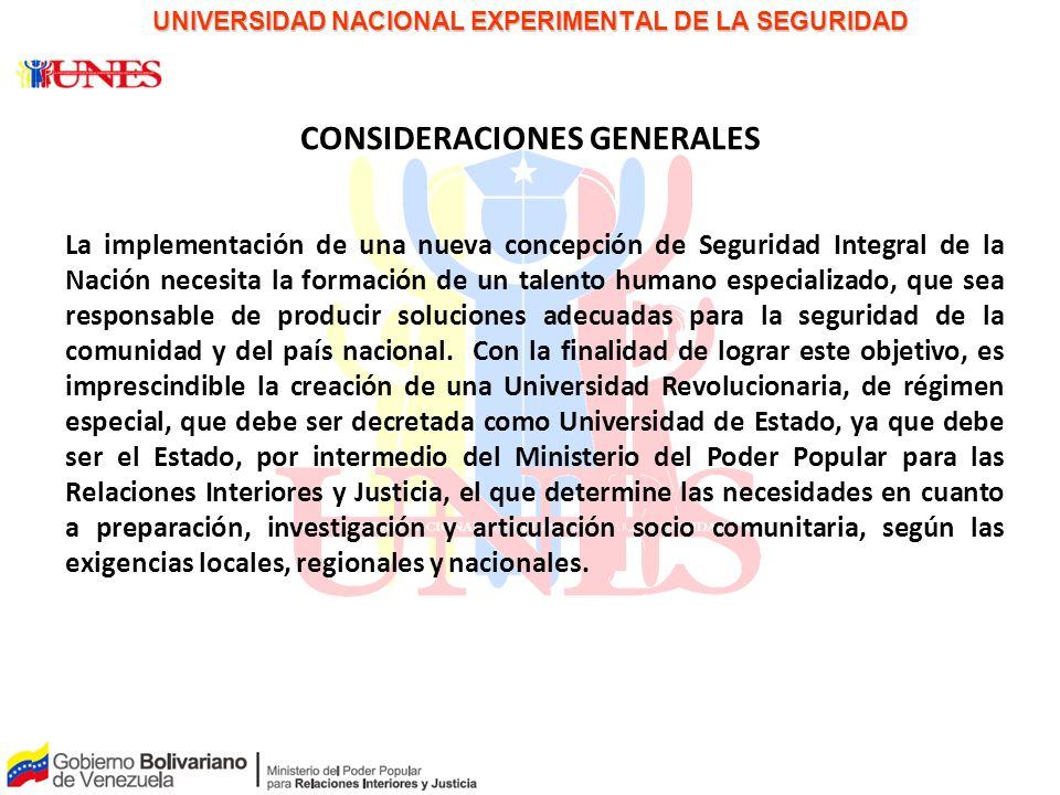 PAPEL PARA LA DISCUSIÓN UNIVERSIDAD NACIONAL EXPERIMENTAL DE LA SEGURIDAD CONSIDERACIONES GENERALES La implementación de una nueva concepción de Segur