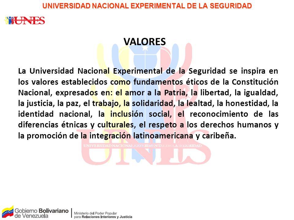 PAPEL PARA LA DISCUSIÓN UNIVERSIDAD NACIONAL EXPERIMENTAL DE LA SEGURIDAD VALORES La Universidad Nacional Experimental de la Seguridad se inspira en l