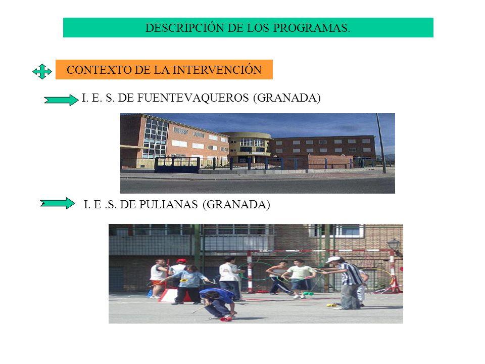 I. E. S. DE FUENTEVAQUEROS (GRANADA) I. E.S. DE PULIANAS (GRANADA) DESCRIPCIÓN DE LOS PROGRAMAS. CONTEXTO DE LA INTERVENCIÓN