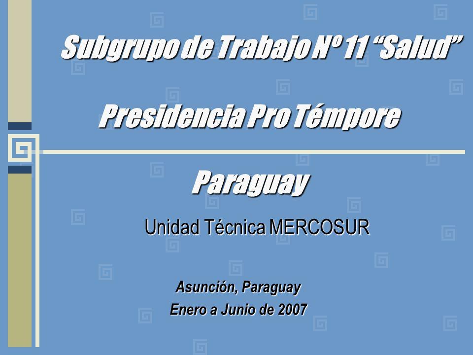 Subgrupo de Trabajo Nº 11 Salud Presidencia Pro Témpore Paraguay Unidad Técnica MERCOSUR Asunción, Paraguay Enero a Junio de 2007