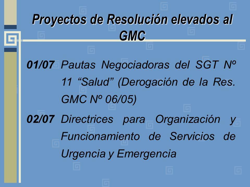 Proyectos de Resolución elevados al GMC 01/07 Pautas Negociadoras del SGT Nº 11 Salud (Derogación de la Res. GMC Nº 06/05) 02/07Directrices para Organ