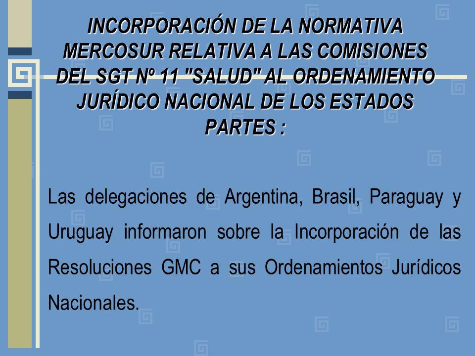INCORPORACIÓN DE LA NORMATIVA MERCOSUR RELATIVA A LAS COMISIONES DEL SGT Nº 11 SALUD AL ORDENAMIENTO JURÍDICO NACIONAL DE LOS ESTADOS PARTES: INCORPORACIÓN DE LA NORMATIVA MERCOSUR RELATIVA A LAS COMISIONES DEL SGT Nº 11 SALUD AL ORDENAMIENTO JURÍDICO NACIONAL DE LOS ESTADOS PARTES : Las delegaciones de Argentina, Brasil, Paraguay y Uruguay informaron sobre la Incorporación de las Resoluciones GMC a sus Ordenamientos Jurídicos Nacionales.