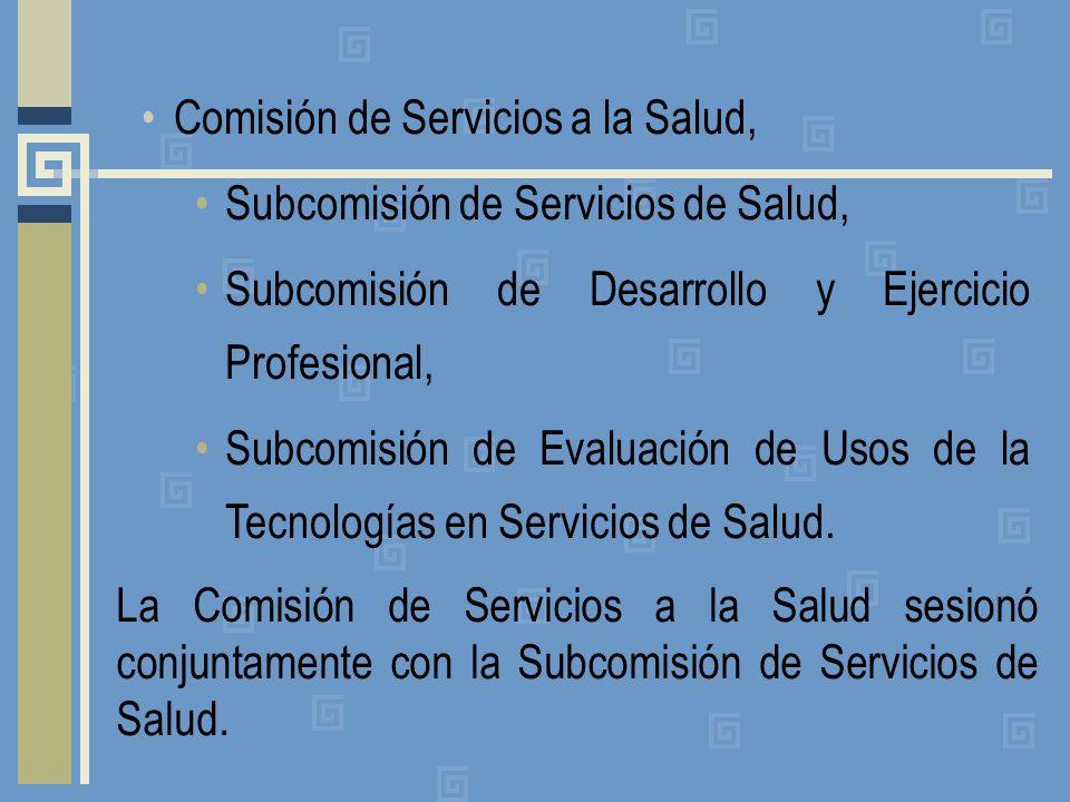 Comisión de Servicios a la Salud, Subcomisión de Servicios de Salud, Subcomisión de Desarrollo y Ejercicio Profesional, Subcomisión de Evaluación de Usos de la Tecnologías en Servicios de Salud.