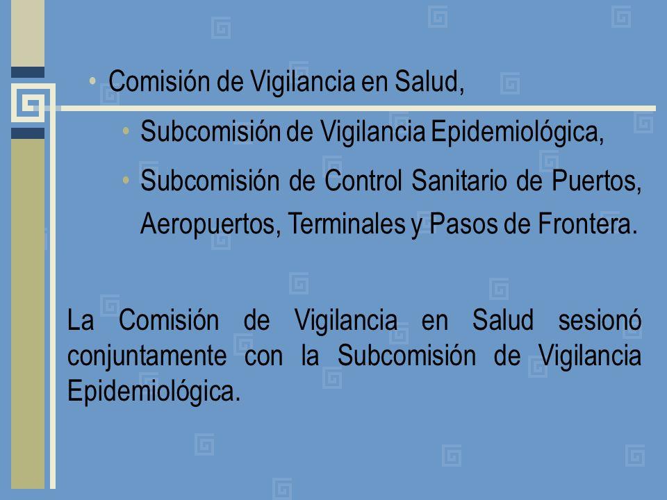 Comisión de Vigilancia en Salud, Subcomisión de Vigilancia Epidemiológica, Subcomisión de Control Sanitario de Puertos, Aeropuertos, Terminales y Pasos de Frontera.