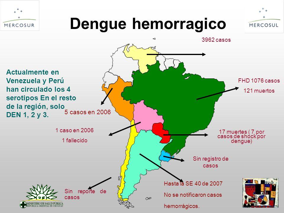 Dengue hemorragico 17 muertes ( 7 por casos de shock por dengue) Hasta la SE 40 de 2007 No se notificaron casos hemorrágicos. Sin reporte de casos Sin
