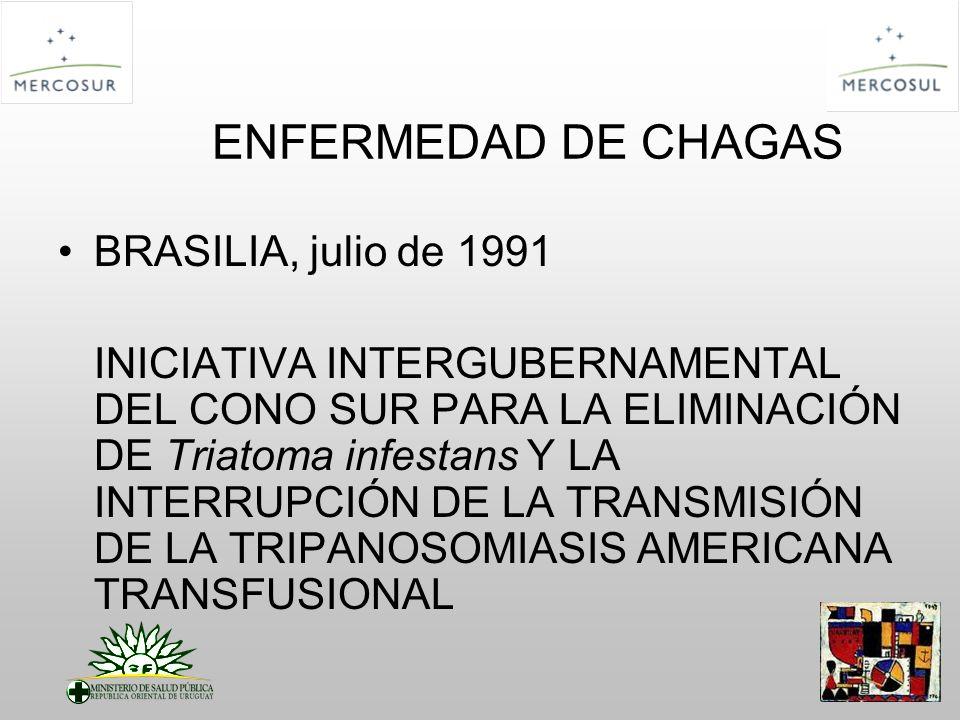 ENFERMEDAD DE CHAGAS BRASILIA, julio de 1991 INICIATIVA INTERGUBERNAMENTAL DEL CONO SUR PARA LA ELIMINACIÓN DE Triatoma infestans Y LA INTERRUPCIÓN DE