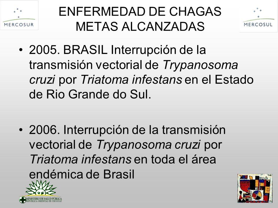 2005. BRASIL Interrupción de la transmisión vectorial de Trypanosoma cruzi por Triatoma infestans en el Estado de Rio Grande do Sul. 2006. Interrupció