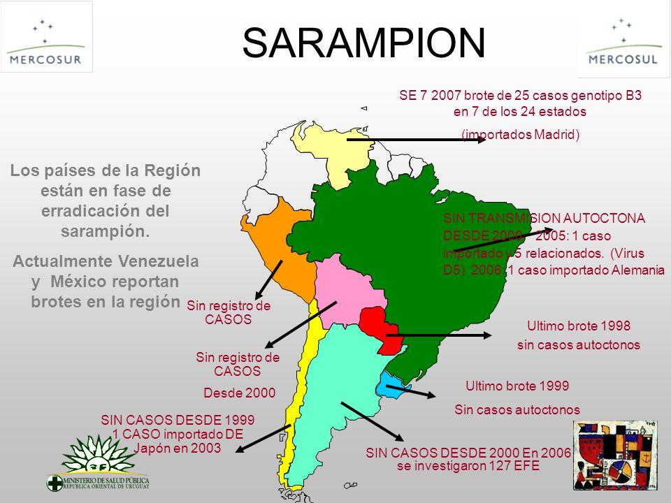 SARAMPION Ultimo brote 1998 sin casos autoctonos SIN CASOS DESDE 2000 En 2006 se investigaron 127 EFE SIN CASOS DESDE 1999 1 CASO importado DE Japón e