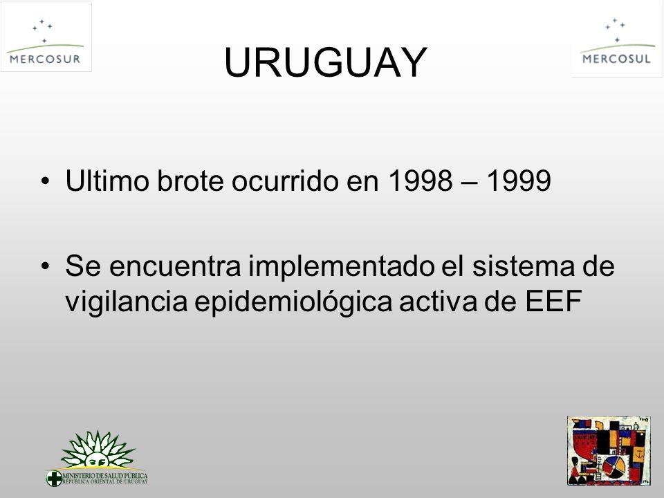 URUGUAY Ultimo brote ocurrido en 1998 – 1999 Se encuentra implementado el sistema de vigilancia epidemiológica activa de EEF