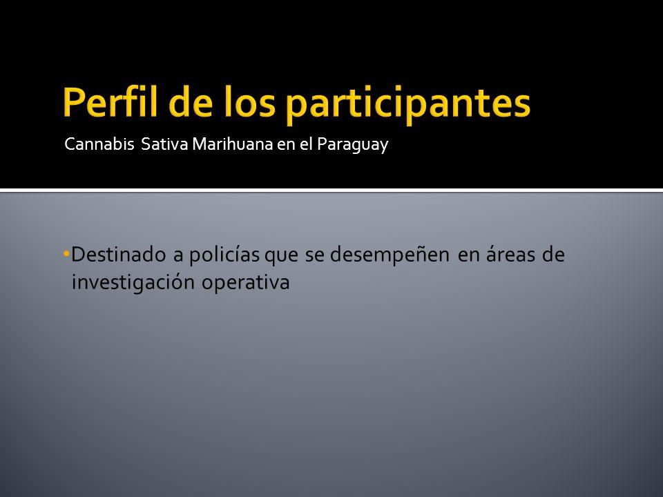 Destinado a policías que se desempeñen en áreas de investigación operativa Cannabis Sativa Marihuana en el Paraguay