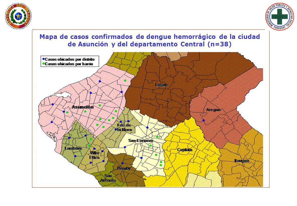 Lunes 29 de Enero de 2007 - 09:33 hs. Mapa de casos confirmados de dengue hemorrágico de la ciudad de Asunción y del departamento Central (n=38)