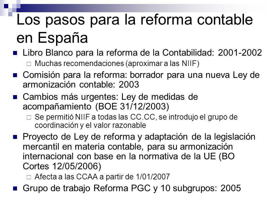 Los pasos para la reforma contable en España Libro Blanco para la reforma de la Contabilidad: 2001-2002 Muchas recomendaciones (aproximar a las NIIF)