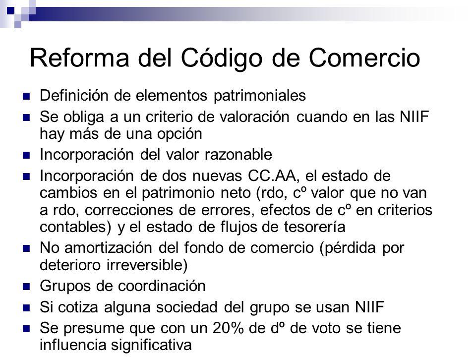 Reforma del Código de Comercio Definición de elementos patrimoniales Se obliga a un criterio de valoración cuando en las NIIF hay más de una opción In