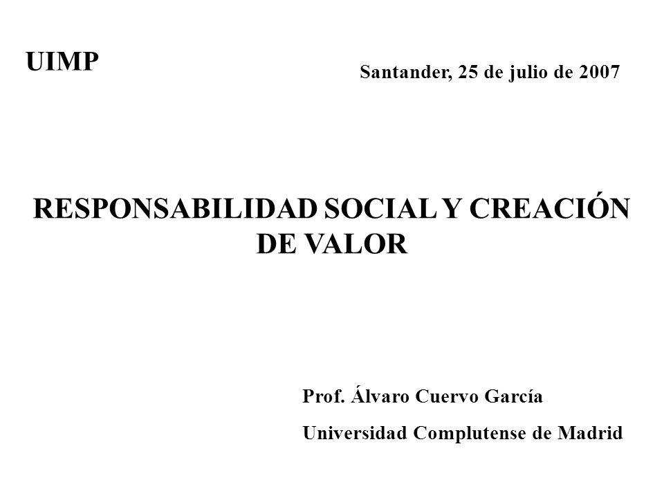 Santander, 25 de julio de 2007 RESPONSABILIDAD SOCIAL Y CREACIÓN DE VALOR Prof. Álvaro Cuervo García Universidad Complutense de Madrid UIMP