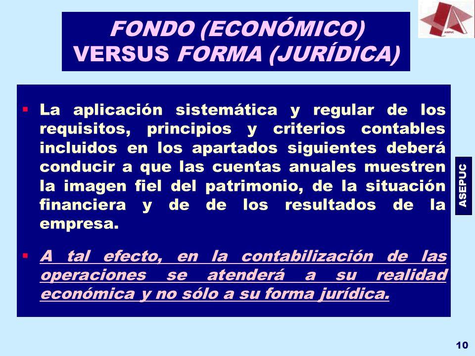 ASEPUC 10 FONDO (ECONÓMICO) VERSUS FORMA (JURÍDICA) La aplicación sistemática y regular de los requisitos, principios y criterios contables incluidos