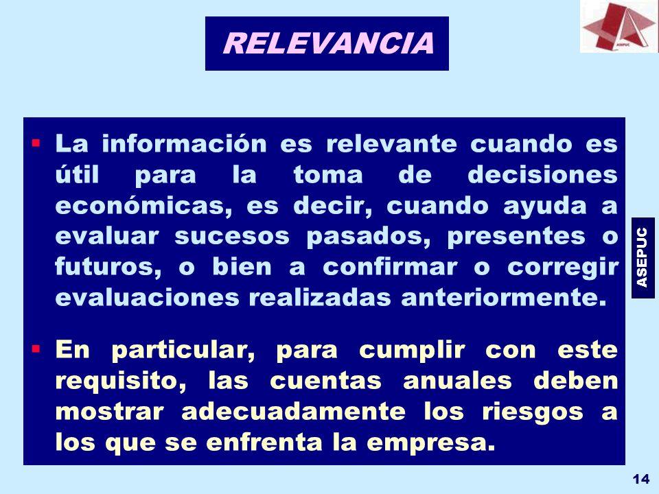 ASEPUC 14 RELEVANCIA La información es relevante cuando es útil para la toma de decisiones económicas, es decir, cuando ayuda a evaluar sucesos pasado