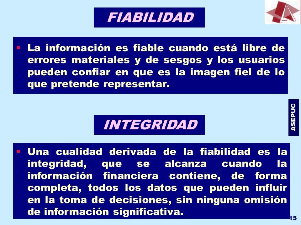 ASEPUC 15 FIABILIDAD La información es fiable cuando está libre de errores materiales y de sesgos y los usuarios pueden confiar en que es la imagen fi