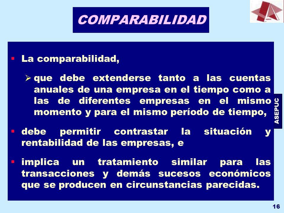 ASEPUC 16 COMPARABILIDAD La comparabilidad, que debe extenderse tanto a las cuentas anuales de una empresa en el tiempo como a las de diferentes empre