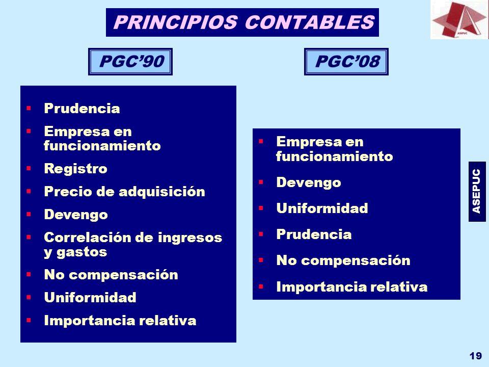 ASEPUC 19 PRINCIPIOS CONTABLES Empresa en funcionamiento Devengo Uniformidad Prudencia No compensación Importancia relativa PGC08 PGC90 Prudencia Empr