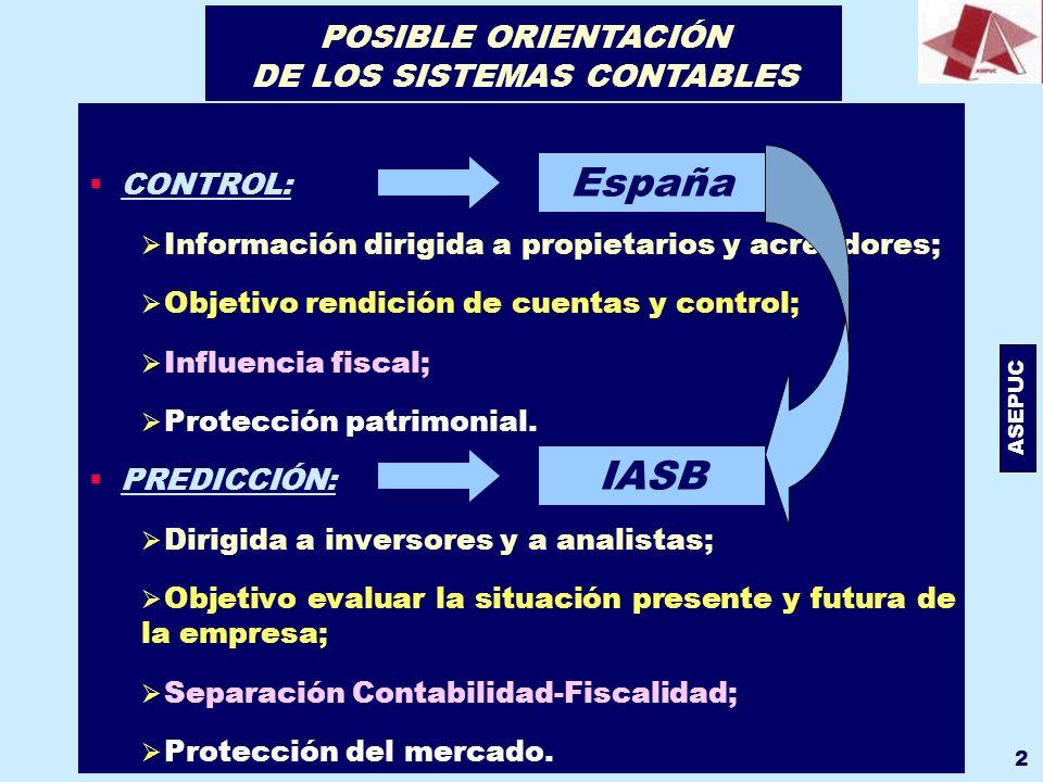 ASEPUC 2 CONTROL: Información dirigida a propietarios y acreedores; Objetivo rendición de cuentas y control; Influencia fiscal; Protección patrimonial