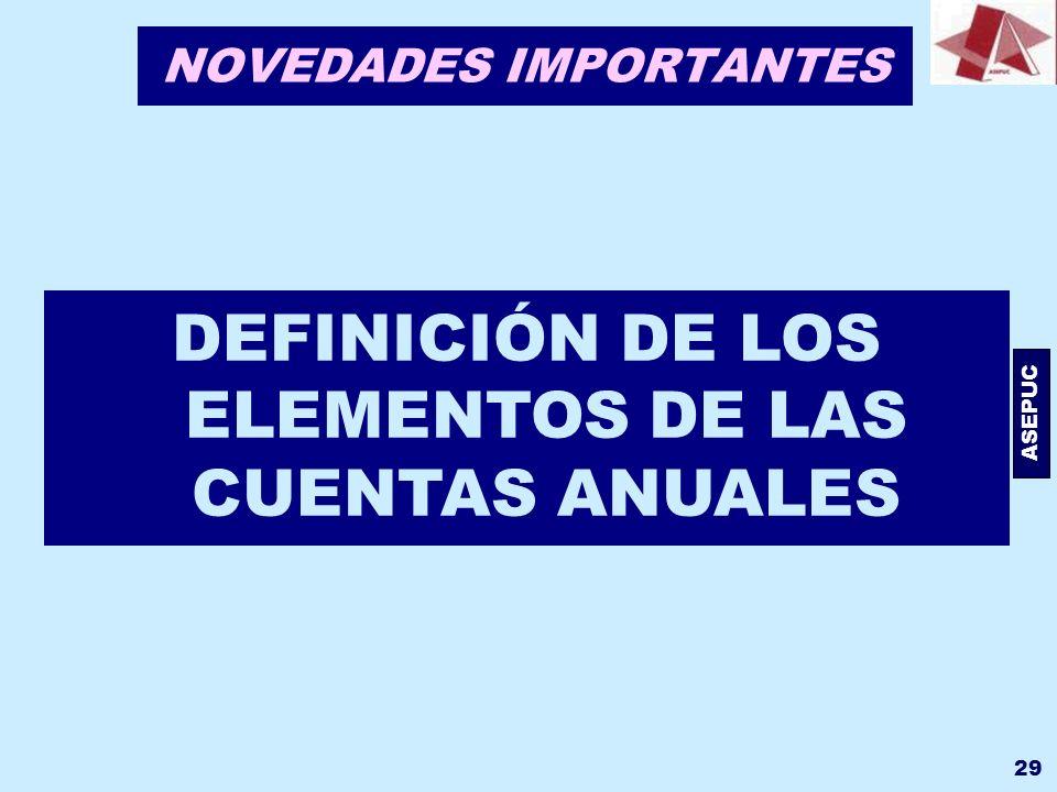 ASEPUC 29 NOVEDADES IMPORTANTES DEFINICIÓN DE LOS ELEMENTOS DE LAS CUENTAS ANUALES