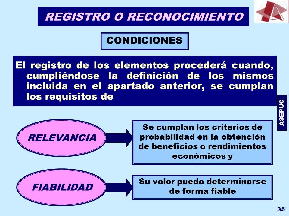 ASEPUC 35 REGISTRO O RECONOCIMIENTO El registro de los elementos procederá cuando, cumpliéndose la definición de los mismos incluida en el apartado an