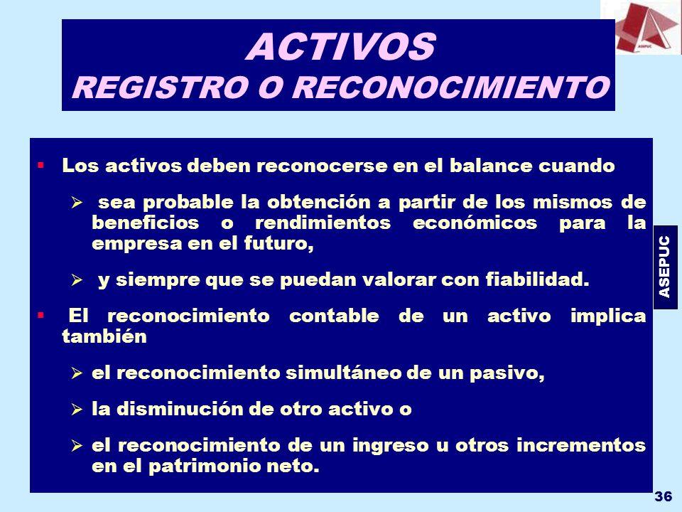 ASEPUC 36 ACTIVOS REGISTRO O RECONOCIMIENTO Los activos deben reconocerse en el balance cuando sea probable la obtención a partir de los mismos de ben