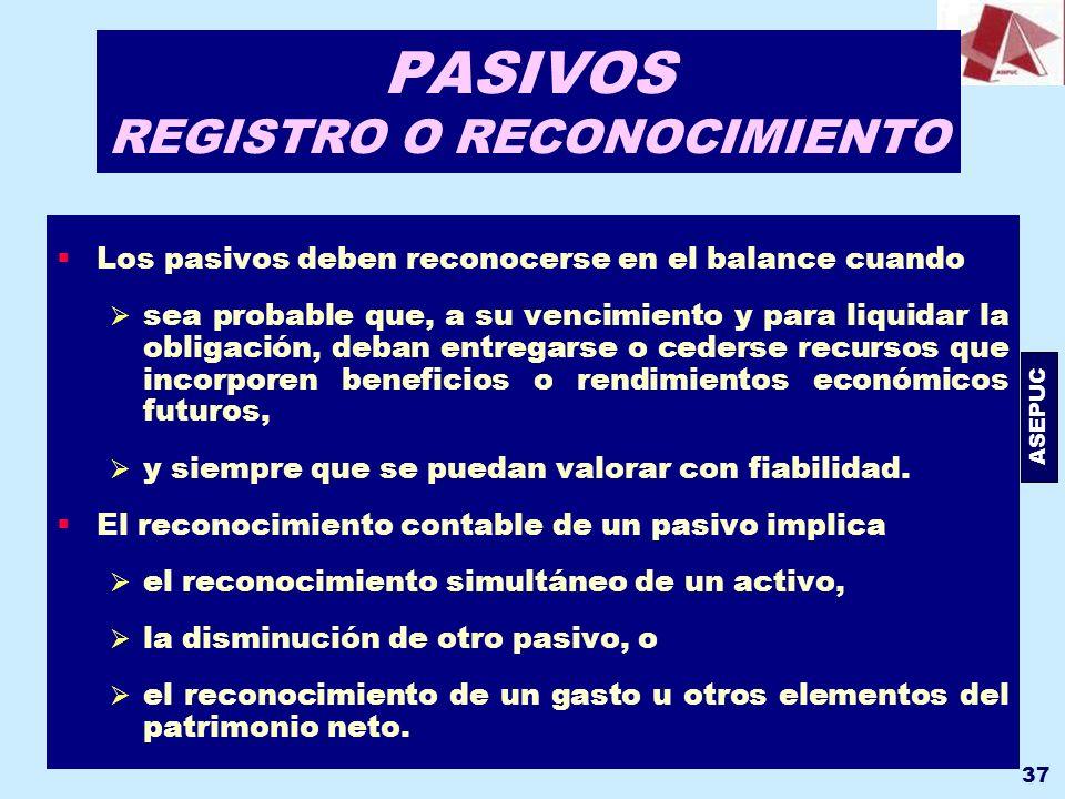 ASEPUC 37 PASIVOS REGISTRO O RECONOCIMIENTO Los pasivos deben reconocerse en el balance cuando sea probable que, a su vencimiento y para liquidar la o