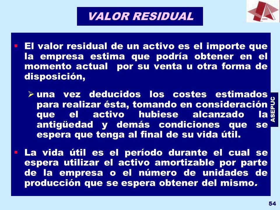 ASEPUC 54 VALOR RESIDUAL El valor residual de un activo es el importe que la empresa estima que podría obtener en el momento actual por su venta u otr