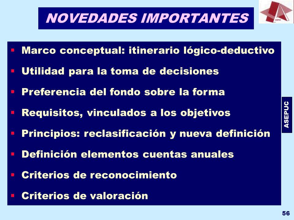 ASEPUC 56 Marco conceptual: itinerario lógico-deductivo Utilidad para la toma de decisiones Preferencia del fondo sobre la forma Requisitos, vinculado