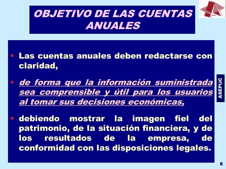 ASEPUC 8 OBJETIVO DE LAS CUENTAS ANUALES Las cuentas anuales deben redactarse con claridad, de forma que la información suministrada sea comprensible
