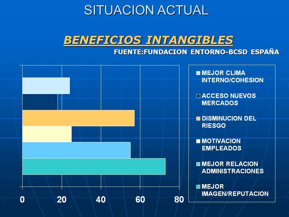 SITUACION ACTUAL SITUACION ACTUAL BENEFICIOS INTANGIBLES FUENTE:FUNDACION ENTORNO-BCSD ESPAÑA