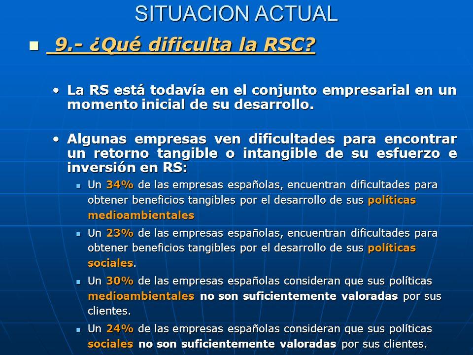 SITUACION ACTUAL 9.- ¿Qué dificulta la RSC? 9.- ¿Qué dificulta la RSC? La RS está todavía en el conjunto empresarial en un momento inicial de su desar