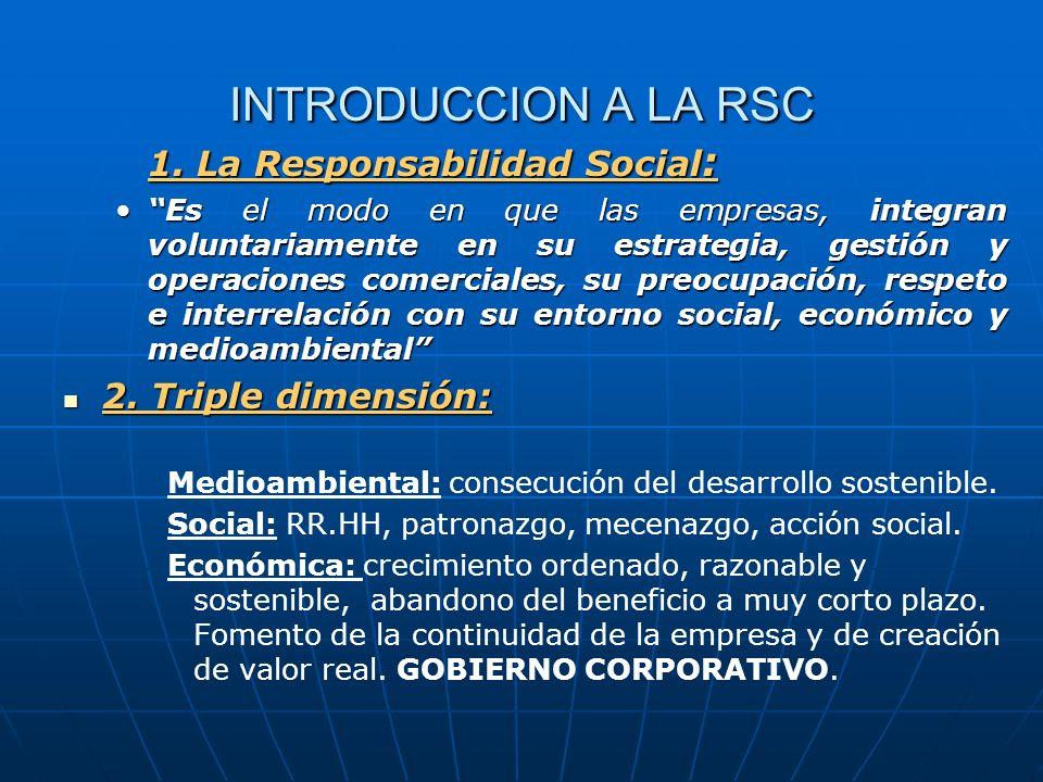 INTRODUCCION A LA RSC 1. La Responsabilidad Social : Es el modo en que las empresas, integran voluntariamente en su estrategia, gestión y operaciones