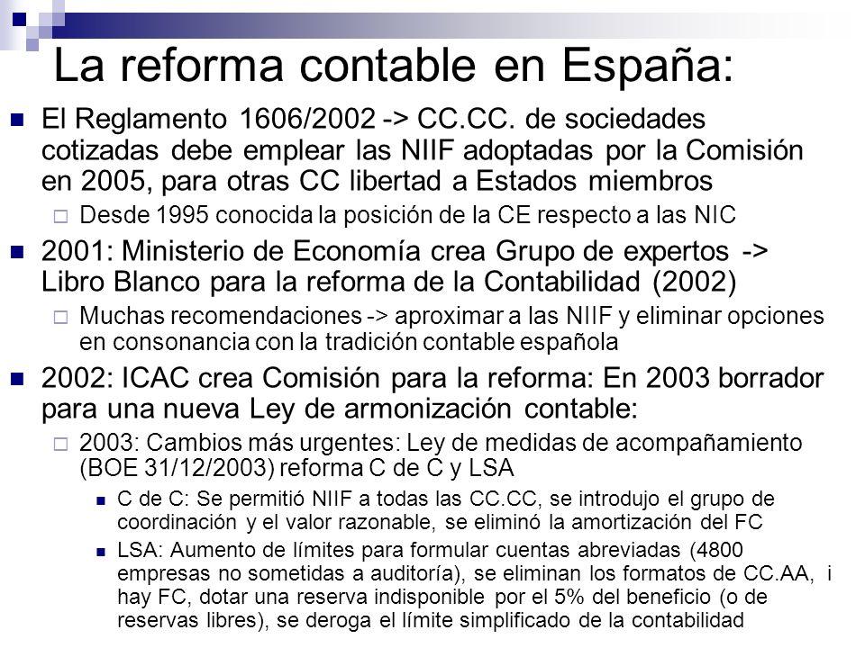 La reforma contable en España: El Reglamento 1606/2002 -> CC.CC. de sociedades cotizadas debe emplear las NIIF adoptadas por la Comisión en 2005, para