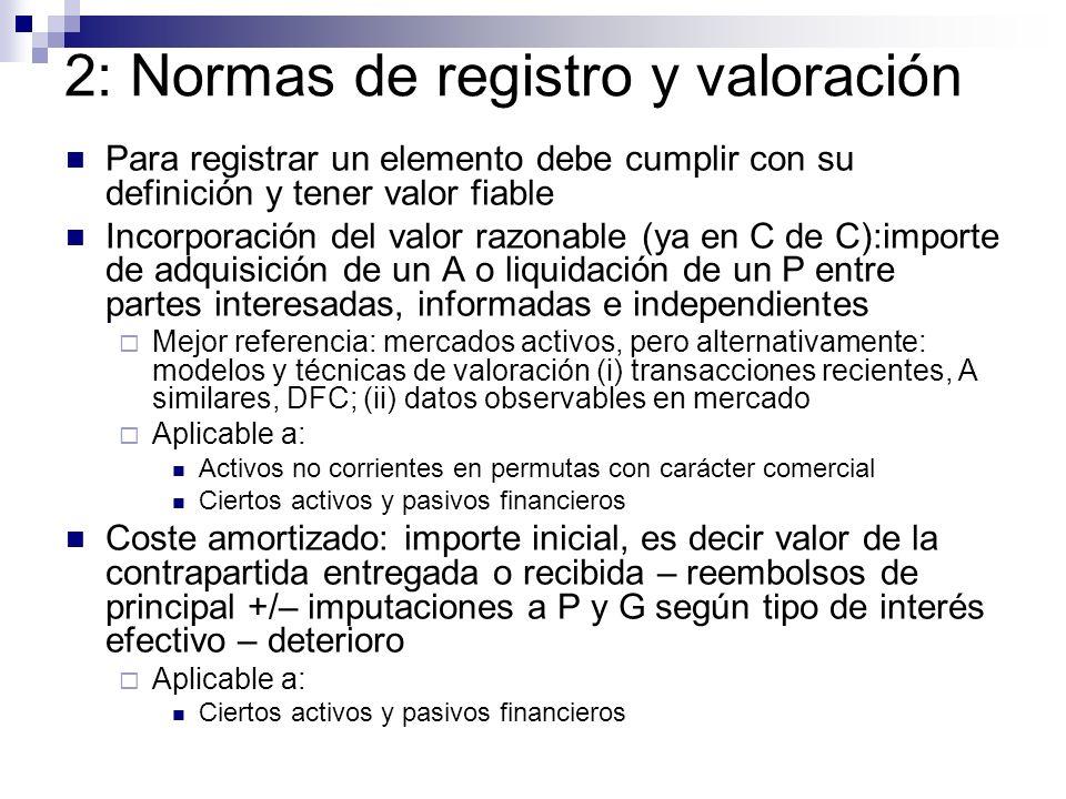 2: Normas de registro y valoración Para registrar un elemento debe cumplir con su definición y tener valor fiable Incorporación del valor razonable (y