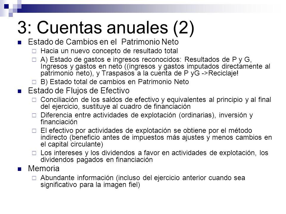 3: Cuentas anuales (2) Estado de Cambios en el Patrimonio Neto Hacia un nuevo concepto de resultado total A) Estado de gastos e ingresos reconocidos: