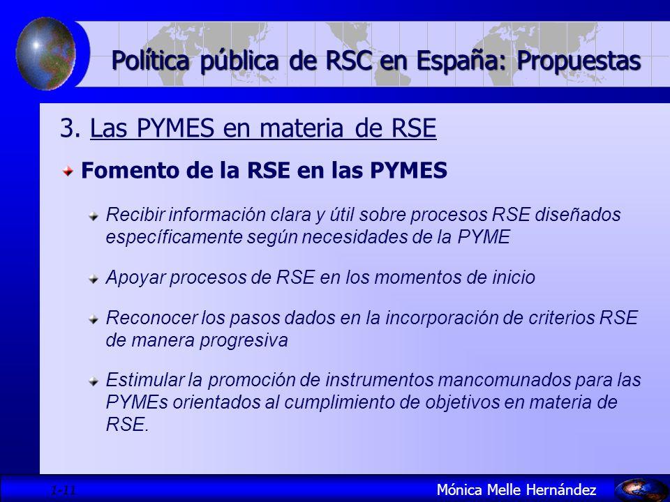 1- 11 Política pública de RSC en España: Propuestas 3. Las PYMES en materia de RSE Fomento de la RSE en las PYMES Recibir información clara y útil sob