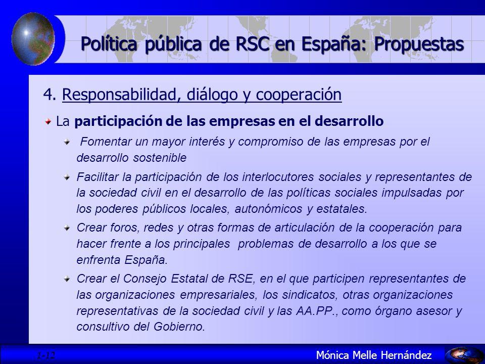 1- 12 Política pública de RSC en España: Propuestas 4. Responsabilidad, diálogo y cooperación La participación de las empresas en el desarrollo Foment