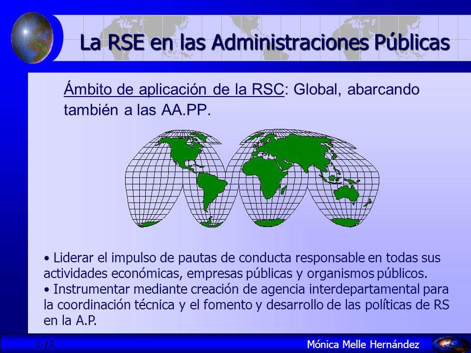 1- 13 Ámbito de aplicación de la RSC: Global, abarcando también a las AA.PP. Mónica Melle Hernández La RSE en las Administraciones Públicas Liderar el