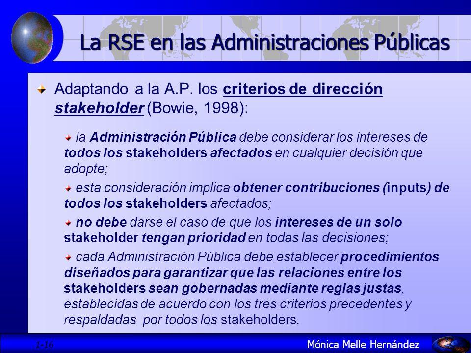 1- 16 Adaptando a la A.P. los criterios de dirección stakeholder (Bowie, 1998): la Administración Pública debe considerar los intereses de todos los s
