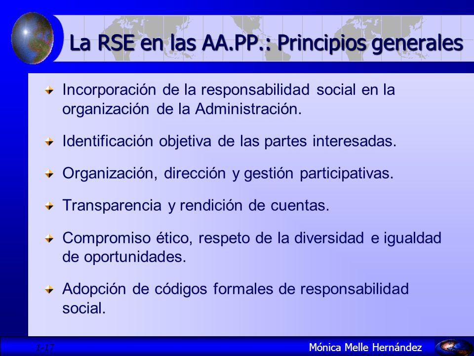 1- 17 Incorporación de la responsabilidad social en la organización de la Administración. Identificación objetiva de las partes interesadas. Organizac