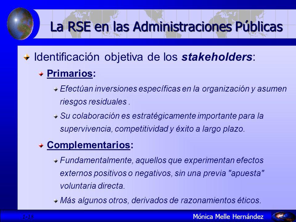 1- 18 Identificación objetiva de los stakeholders: Primarios: Efectúan inversiones específicas en la organización y asumen riesgos residuales. Su cola