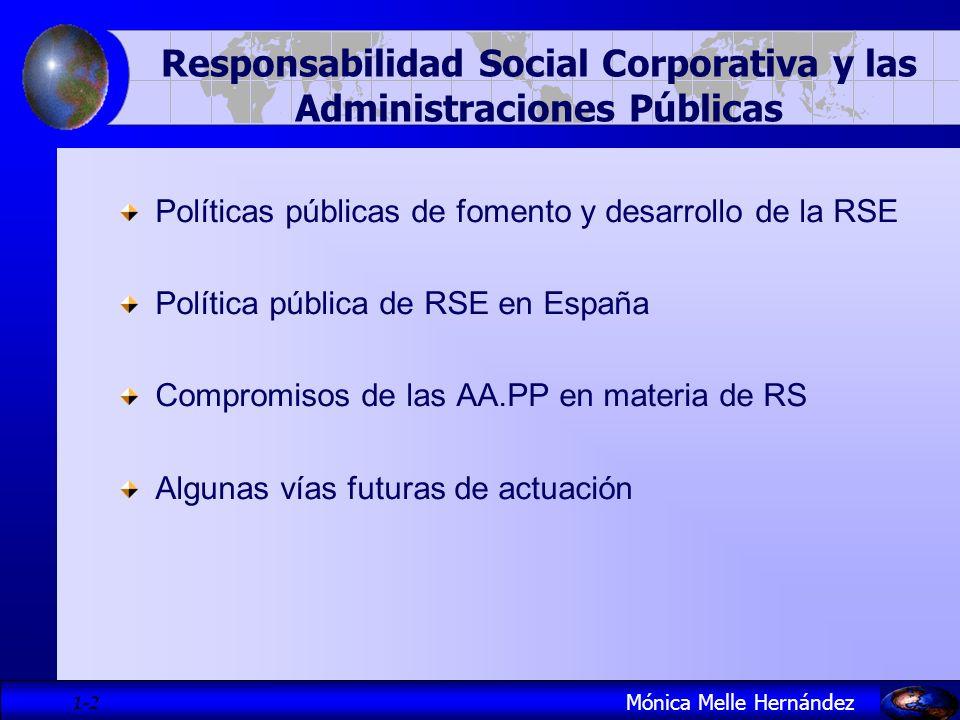 1- 3 Políticas públicas de fomento de RSE Mónica Melle Hernández Objetivos RSE: Favorecer la confianza de ciudadanos y grupos de interés internos y externos.