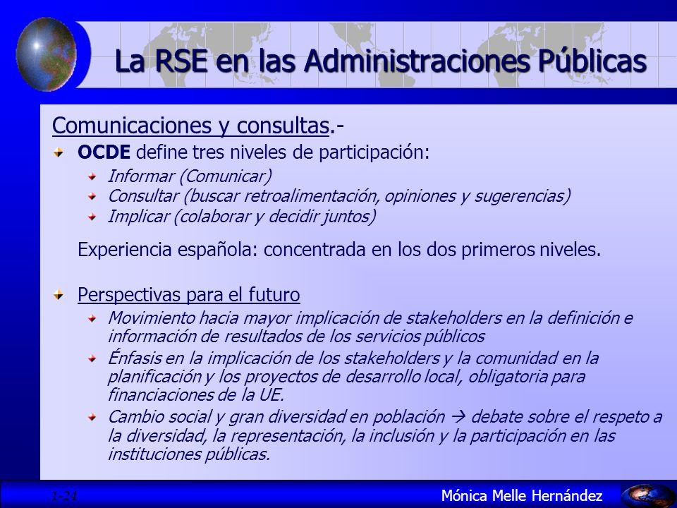 1- 24 Comunicaciones y consultas.- OCDE define tres niveles de participación: Informar (Comunicar) Consultar (buscar retroalimentación, opiniones y su